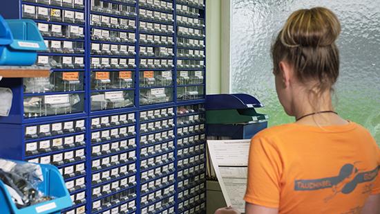 Service/Werkstatt in der Tauchinsel