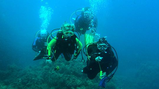 Freiwassertauchgänge im Meer